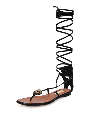 Mask-Detail Flat Lace-Up Sandal, Brown/Black (Ebano/Nero)