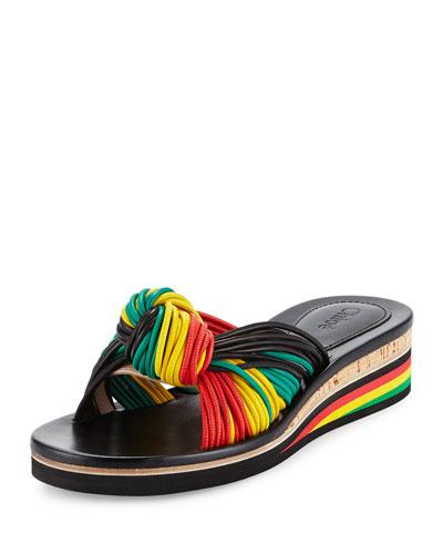 Jamaica Knotted Wedge Sandal, Black/Multi