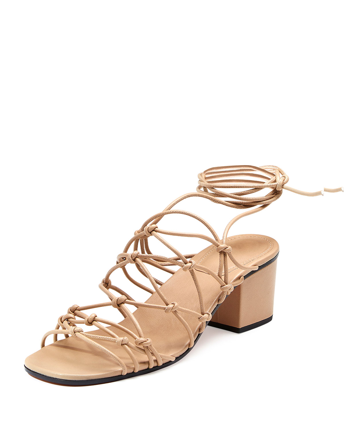 Knotted Ankle-Wrap Sandal, Fawn