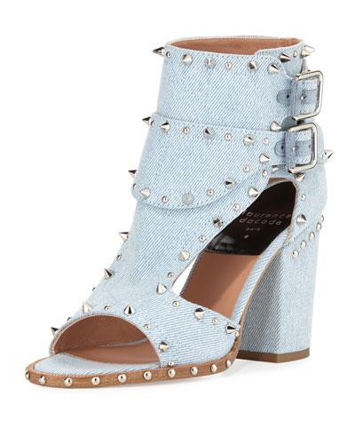 Deric Studded Denim Sandal, Light Blue/Silver