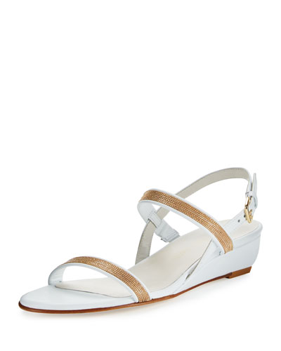 Inchains Leather Demi-Wedge Sandal, White