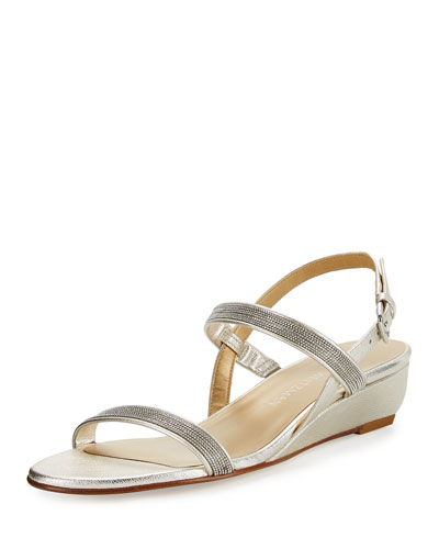 Inchains Leather Demi-Wedge Sandal, Pearl