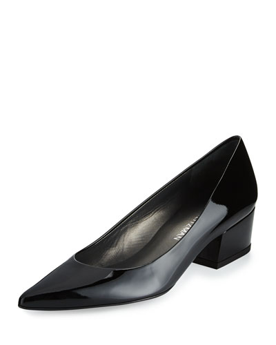 Largo Patent Low-Heel Pump, Black
