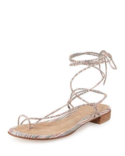 Nieta Striped Lace-Up Sandal, Bisque Prism
