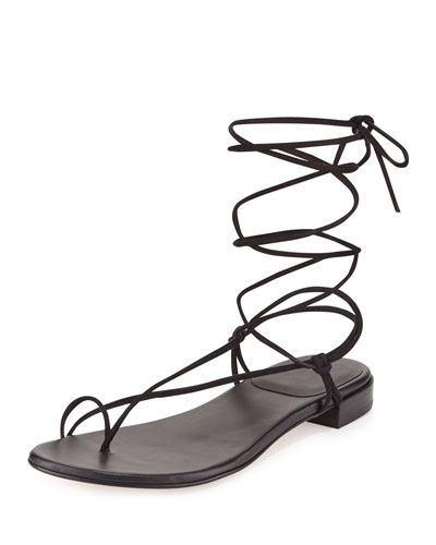Nieta Suede Lace-Up Flat Sandal, Black