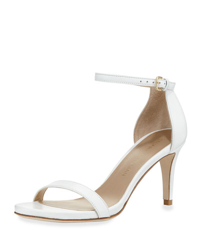 Nunaked Leather Mid-Heel Sandal, White