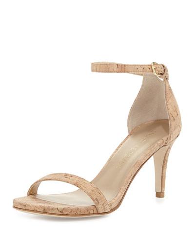 Nunaked Cork Mid-Heel Sandal, Natural