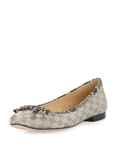 Shoestring Square-Print Metallic Ballerina Flat, Chrome