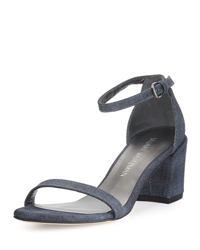 Simple Denim Chunky-Heel Sandal, Navy