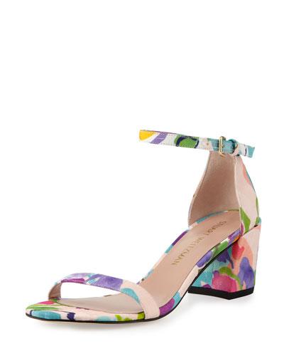 Simple Printed Jacquard Chunky-Heel Sandal, Pastel