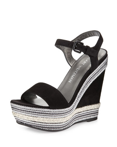 Single Embellished Suede Wedge Sandal, Black