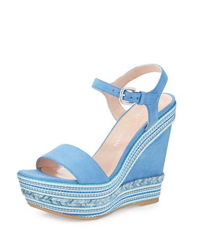 Single Embellished Suede Wedge Sandal, Miramar