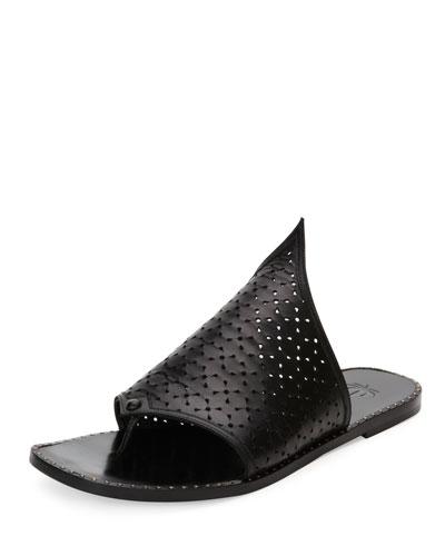 Pierced Flat Leather Thong Sandal, Black