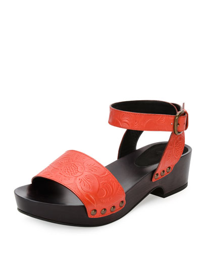 Embossed-Leather Clog Sandal, Fire