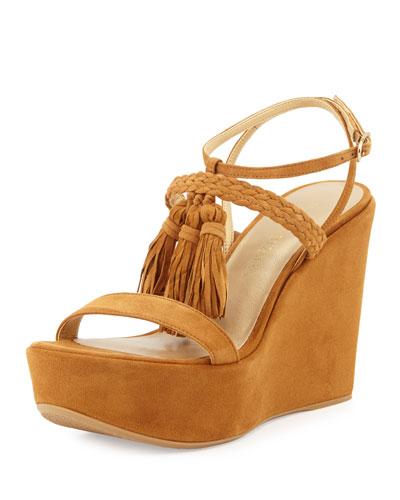 Tasselmania Suede Wedge Sandal, Camel