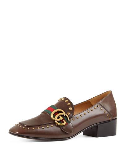 Peyton Studded Square-Toe Loafer, Cuir