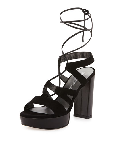 Tiegirlbingo Suede Platform Sandal, Black