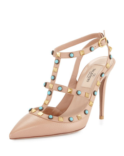 Rockstud Cabochon Leather 100mm Pump, Soft Noisette/Turquoise