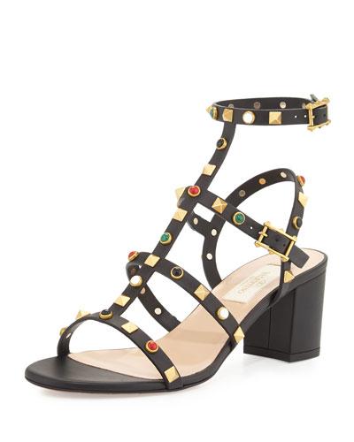 Rockstud Cabochon 60mm Gladiator Sandal, Black/Deep Ebony (Nero/Ebano)