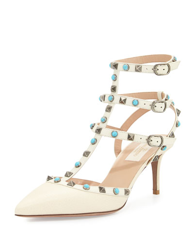 Rockstud Rolling Caged 65mm Pump, Light Ivory