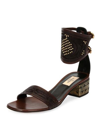 Studded Vachetta Ankle-Cuff Sandal, Cacao/Black (Cacao/Nero)