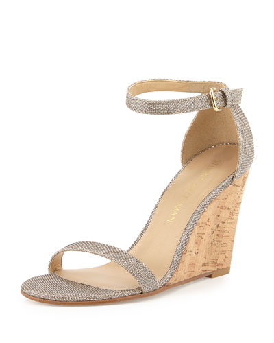 Walkway Metallic Wedge Sandal, Platinum