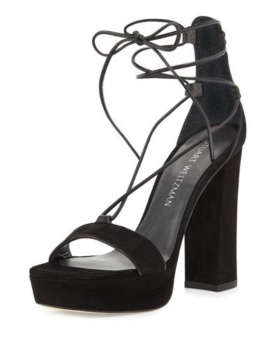 Wrap-It Suede Chunky-Heel Sandal, Black
