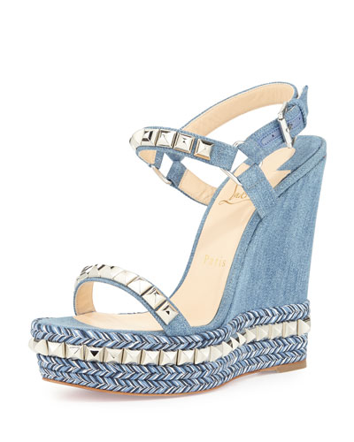Cataclou Denim 140mm Wedge Red Sole Sandal, Blue/Silver