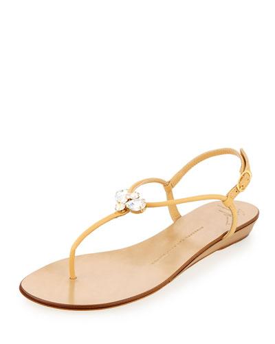 Zerlock Jeweled Thong Sandal, Sable