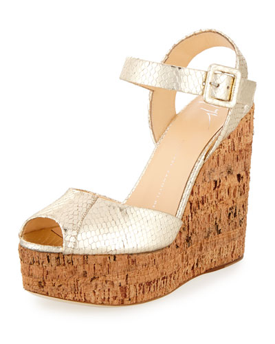 Roz Snake-Embossed Wedge Sandal, Gold