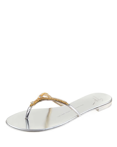 Nuvorock Crystal Flat Thong Sandal, Silver