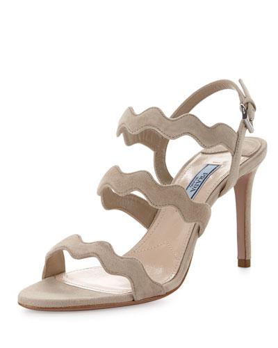 Suede Wavy-Strap Sandal, Quarzo