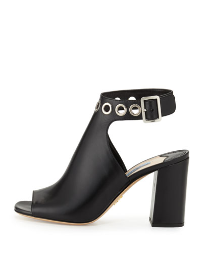Grommet-Studded Ankle-Wrap Sandal, Black (Nero)