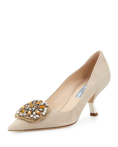 Jewel-Medallion Suede Pump, Quartz (Quarzo)