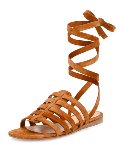 Suede Ankle-Wrap Gladiator Sandal, Luggage