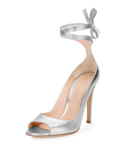 Metallic Leather Ankle-Wrap Pump, Silver