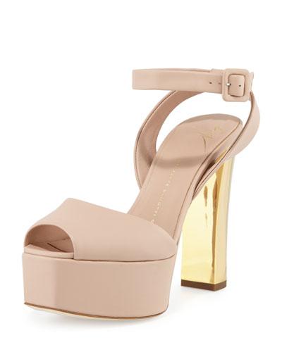 Lavinia Leather Platform Sandal, Nude