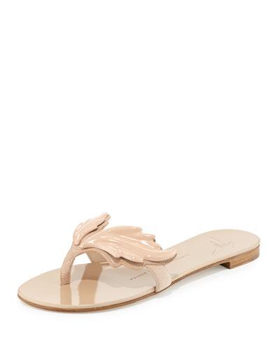 Wings Suede Flat Thong Sandal, Fondontina