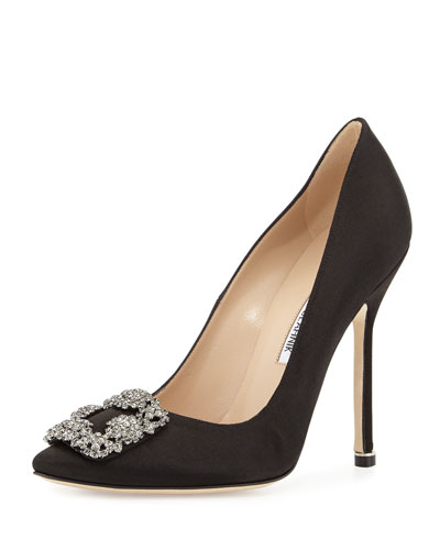 Hangisi Crystal-Buckle Satin 115mm Pump,  Black