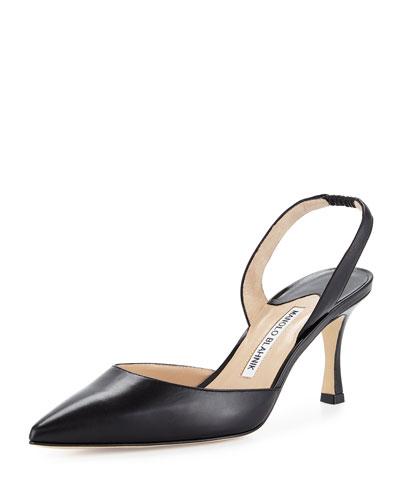 Carolyne Leather Mid-Heel Halter Pump, Black