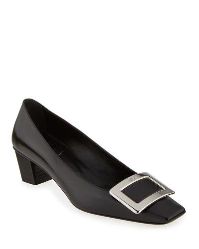 Decollete Belle Vivier Leather Ballerina Pumps, Black