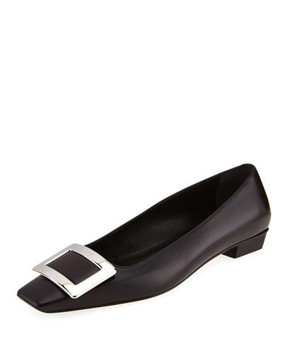 Belle Vivier Leather Ballerina Flat, Black