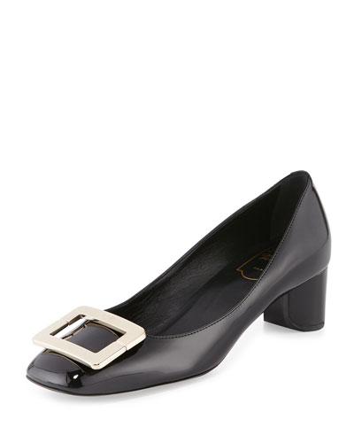 Decollete U-Cut Mid-Heel Pump, Black