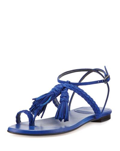 Tasselites Suede Tassel Sandal, Electric Blue