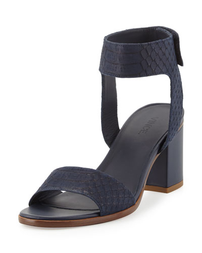 Josslyn Snake-Embossed City Sandal, Heather Indigo