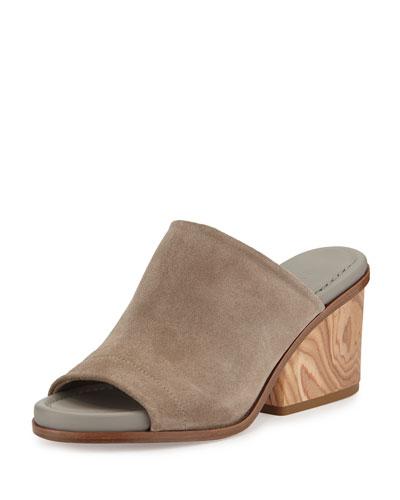 Tilda Wooden-Heel Suede Mule, Pumice