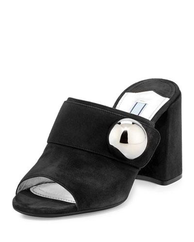Suede Chunky-Heel Slide Sandal, Black (Nero)