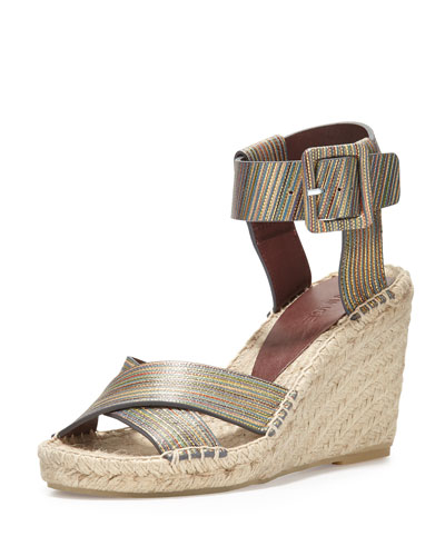 Stefania Snake-Embossed Espadrille Wedge Sandal, Natural