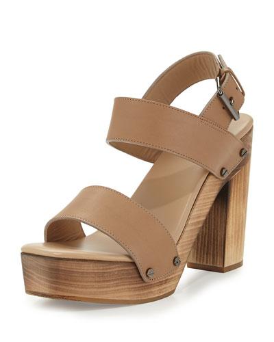 Solange Leather Slingback Sandal, Sand