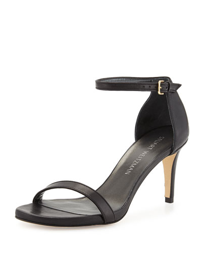 Nunaked Leather Mid-Heel Sandal, Black